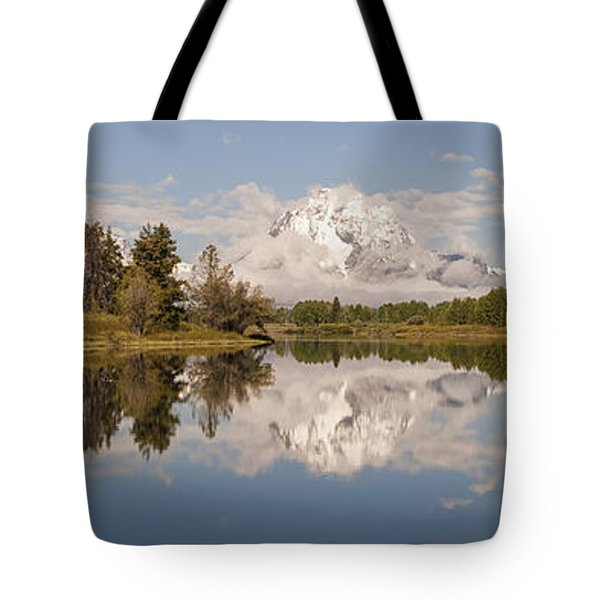 Mount Moran On Oxbow Bend Panorama Tote Bag by Brian Harig