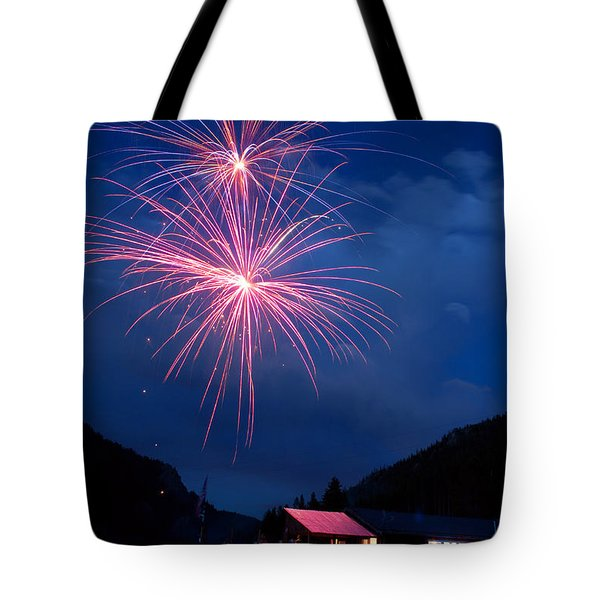 Mountain Fireworks landscape Tote Bag by James BO  Insogna