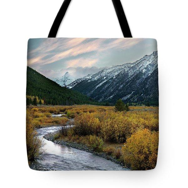 Mountain Grandeur Tote Bag by Leland D Howard