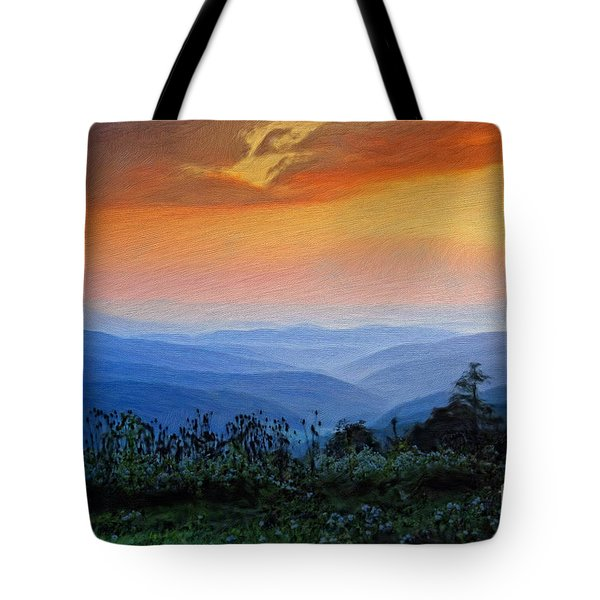 Mountain Sunrise Tote Bag by Lois Bryan