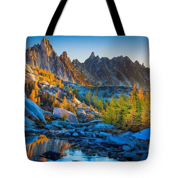 Mountainous Paradise Tote Bag by Inge Johnsson