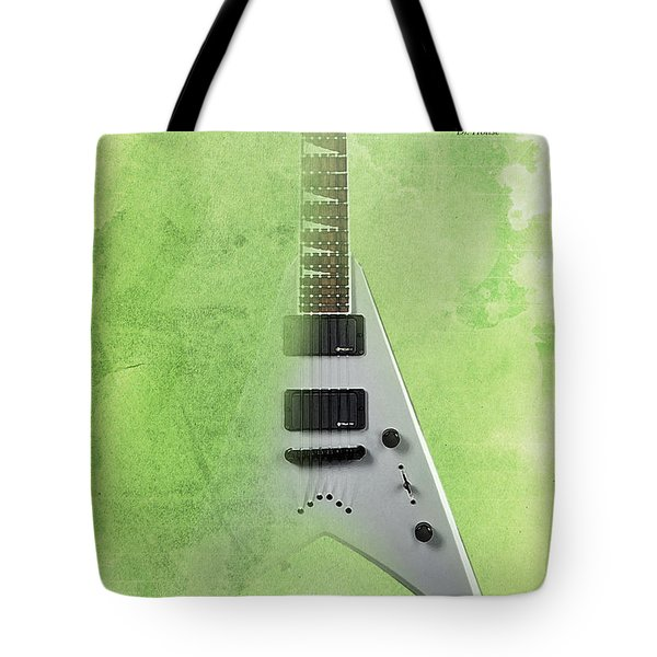 Mr Spock Inspirational Quote And Electric Guitar Green Vintage Poster For Musicians And Trekkers Tote Bag by Pablo Franchi