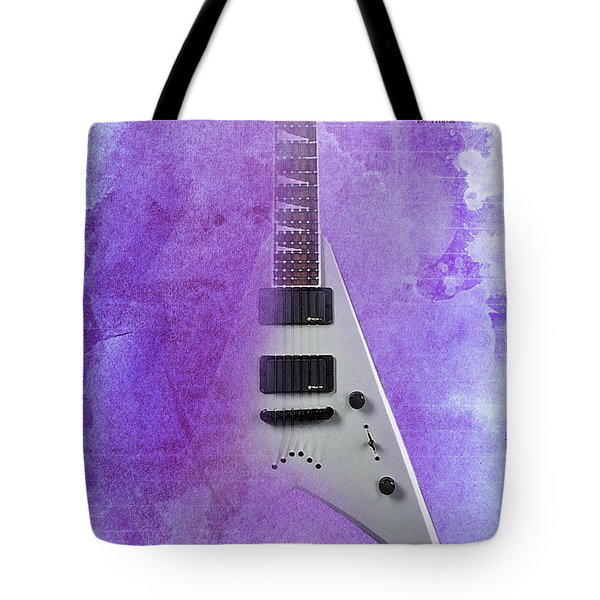 Mr Spock Inspirational Quote And Electric Guitar Purple Vintage Poster For Musicians And Trekkers Tote Bag by Pablo Franchi