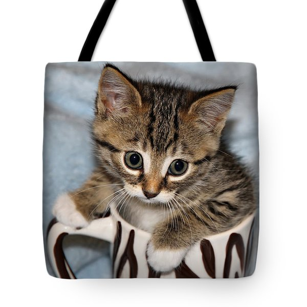 Mug Kitten Tote Bag by Teresa Zieba