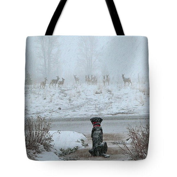 Murphy Watches The Deer Tote Bag by Eric Tressler