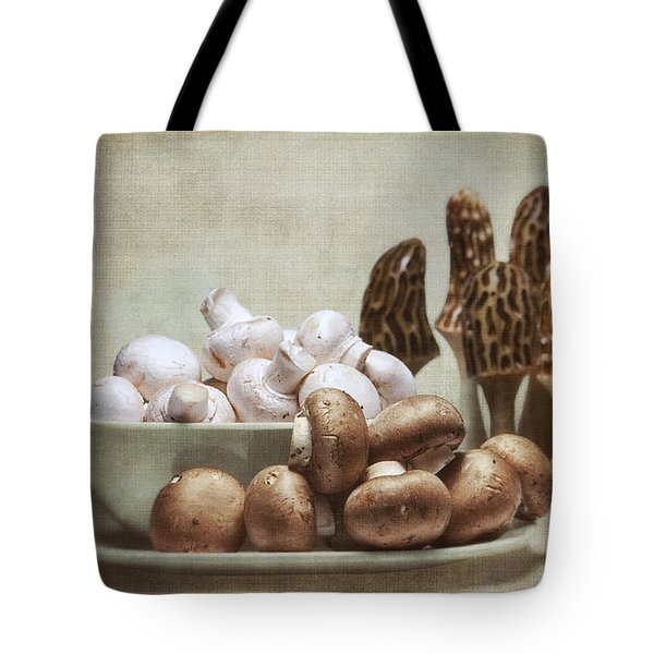 Mushrooms And Carvings Tote Bag by Tom Mc Nemar