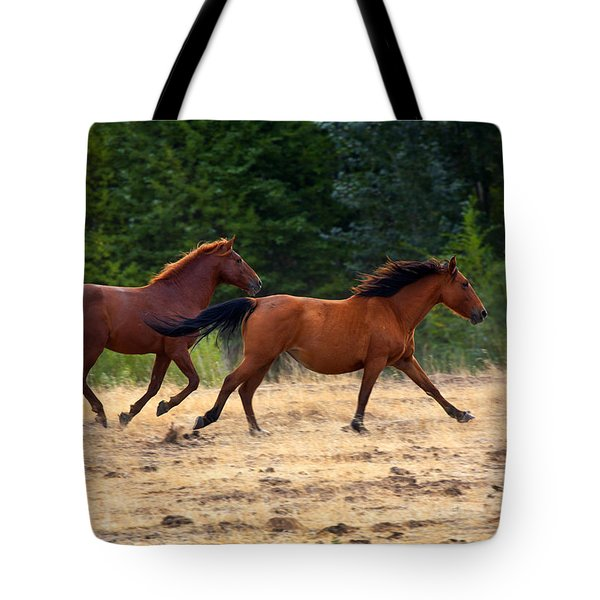 Mustang Gallop Tote Bag by Mike  Dawson