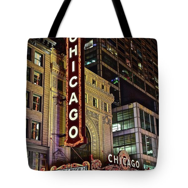 Chicago Theater Aglow Tote Bag by Frozen in Time Fine Art Photography