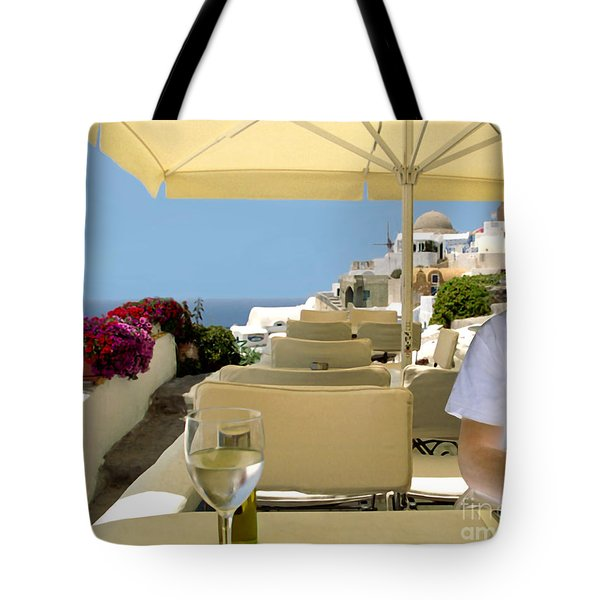 Mykonos Restaurant Tote Bag by Madeline Ellis