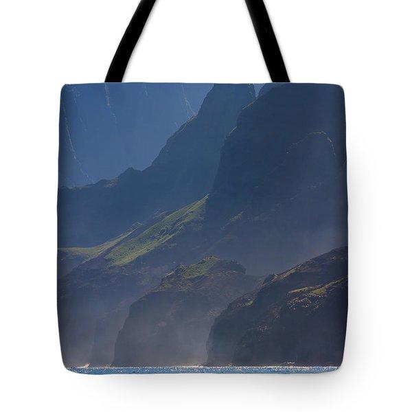 Na Pali Morning Mist Tote Bag by Mike  Dawson