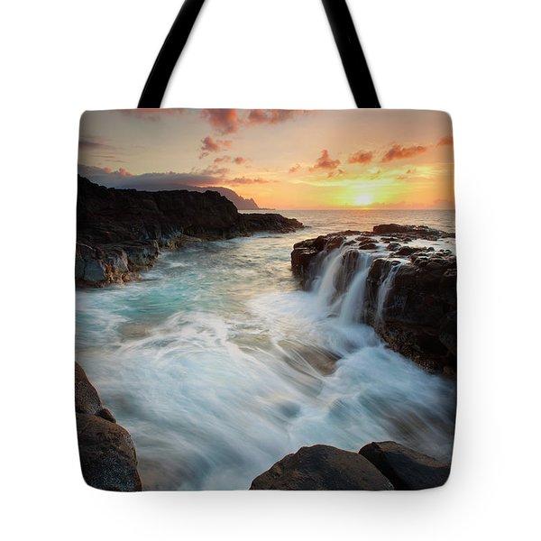 Na Pali Sunset Tote Bag by Mike  Dawson