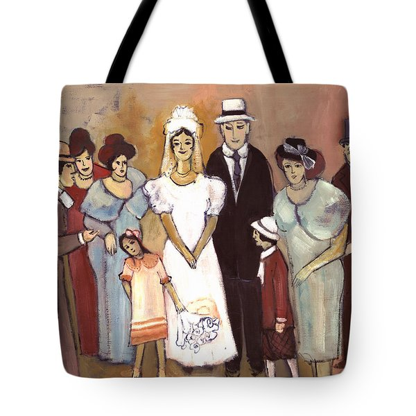 Naive Wedding Large Family White Bride Black Groom Red Women Girls Brown Men With Hats And Flowers Tote Bag by Rachel Hershkovitz
