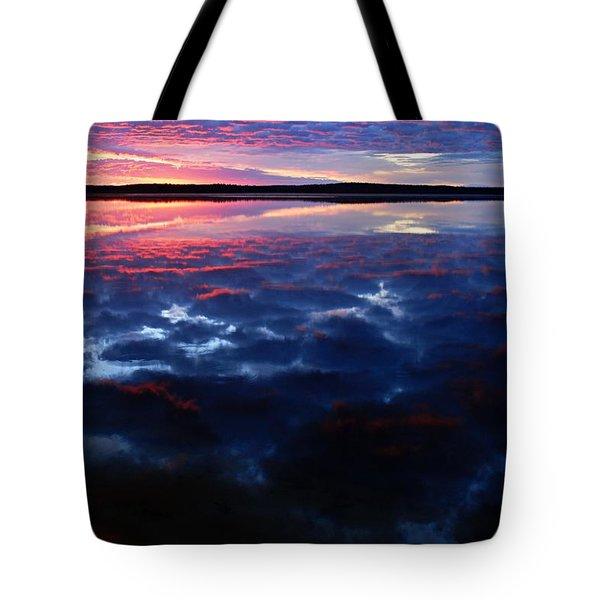 Namekus Lake Sunrise Tote Bag by Larry Ricker