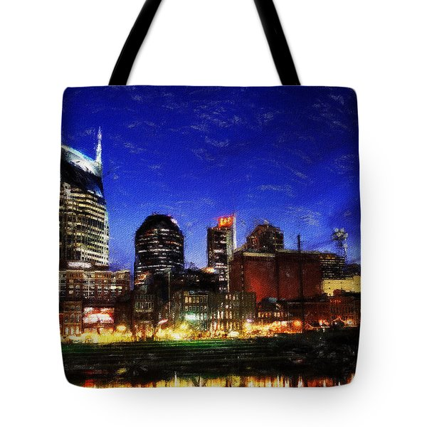 Nashville At Twilight Tote Bag by Dean Wittle