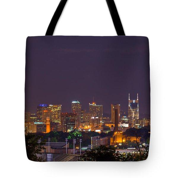 Nashville By Night 3 Tote Bag by Douglas Barnett