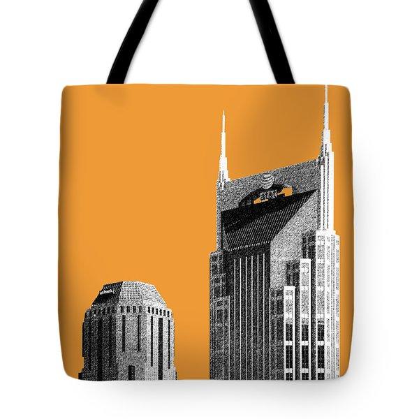 Nashville Skyline At And T Batman Building - Orange Tote Bag by DB Artist