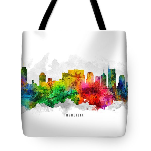 Nashville Tennessee Cityscape 12 Tote Bag by Aged Pixel
