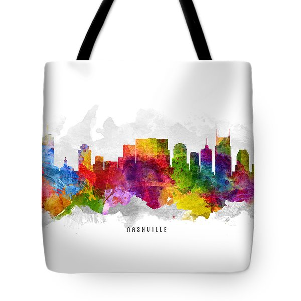 Nashville Tennessee Cityscape 13 Tote Bag by Aged Pixel