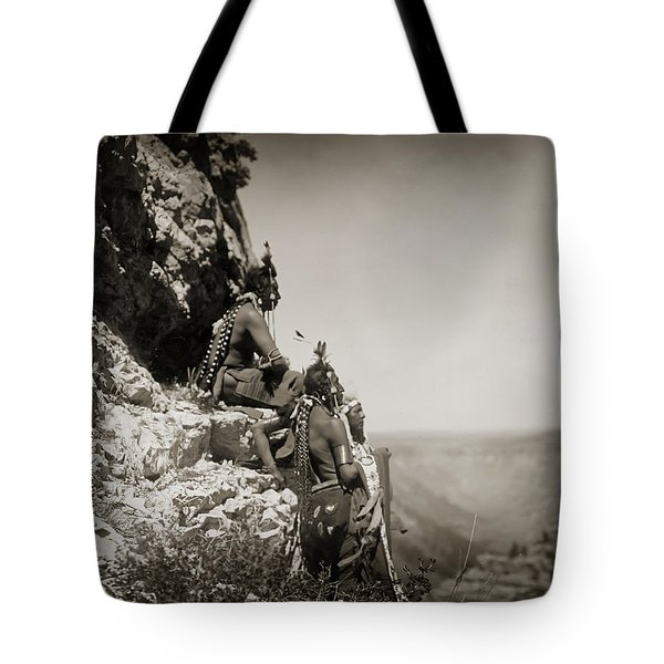 Native American Crow Men On Rock Ledge Tote Bag by The  Vault - Jennifer Rondinelli Reilly