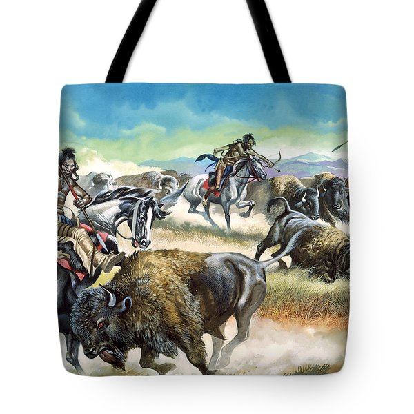 Native American Indians Killing American Bison Tote Bag by Ron Embleton