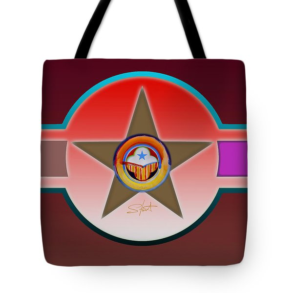 Native American Red Tote Bag by Charles Stuart