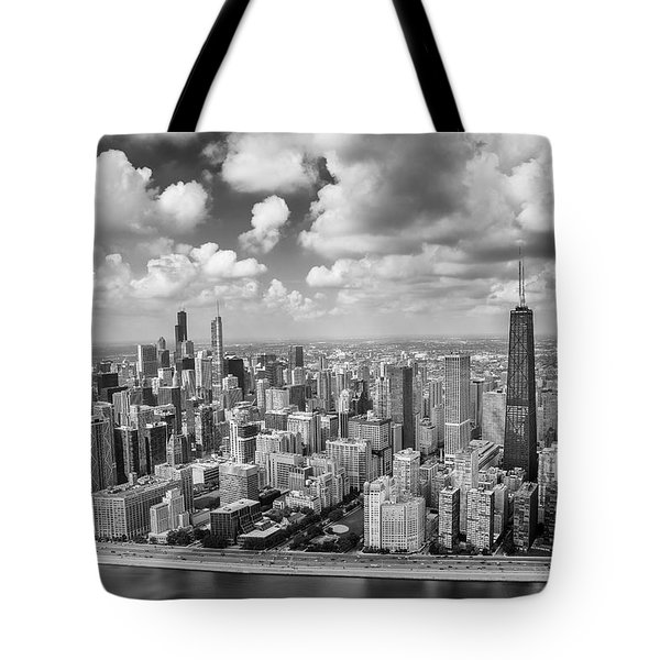 Near North Side And Gold Coast Black And White Tote Bag by Adam Romanowicz