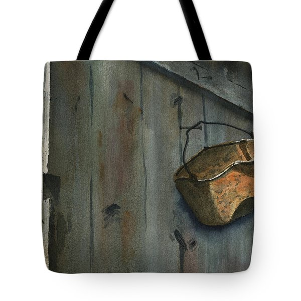 Neighbor Dons Rusted Kettle Tote Bag by Marsha Elliott