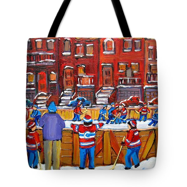NEIGHBORHOOD  HOCKEY RINK Tote Bag by CAROLE SPANDAU