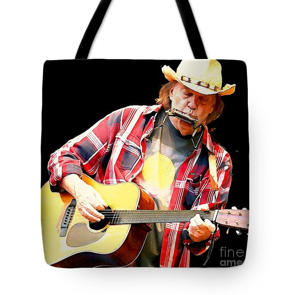 Neil Young Tote Bag by John Malone