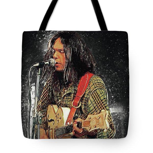 Neil Young Tote Bag by Taylan Apukovska