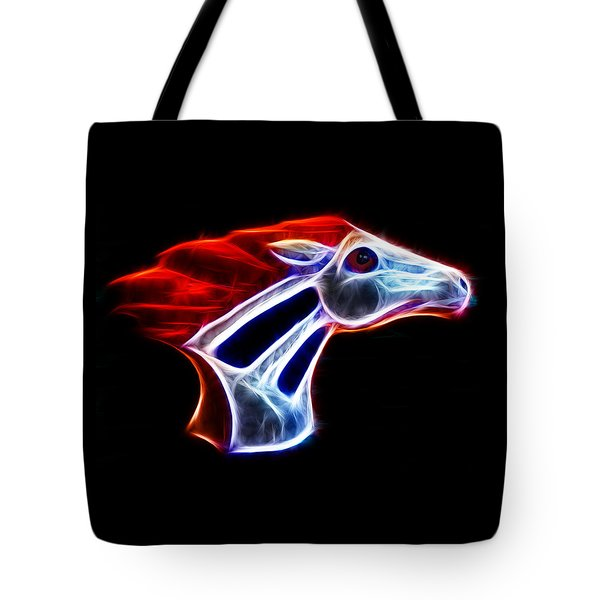 Neon Bronco Tote Bag by Shane Bechler