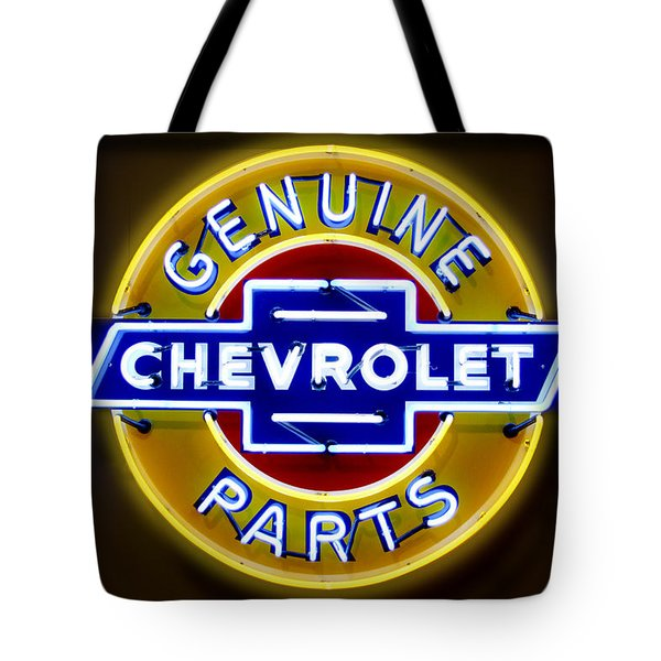 Neon Genuine Chevrolet Parts Sign Tote Bag by Mike McGlothlen