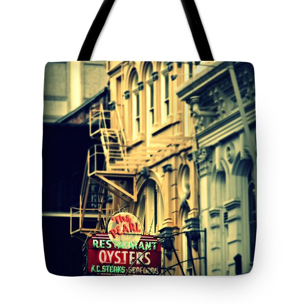 Neon Oysters Sign Tote Bag by Perry Webster