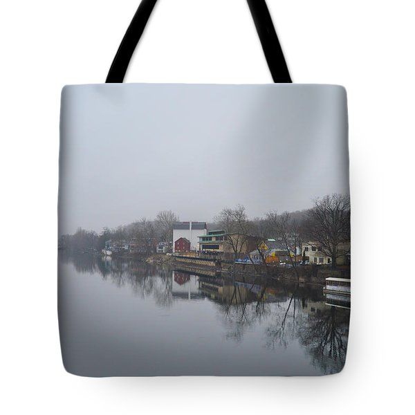 New Hope River View on a Misty Day Tote Bag by Bill Cannon