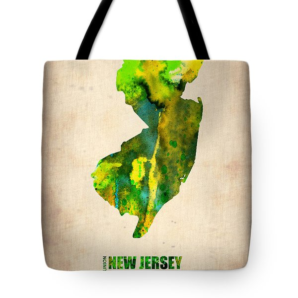 New Jersey Watercolor Map Tote Bag by Naxart Studio