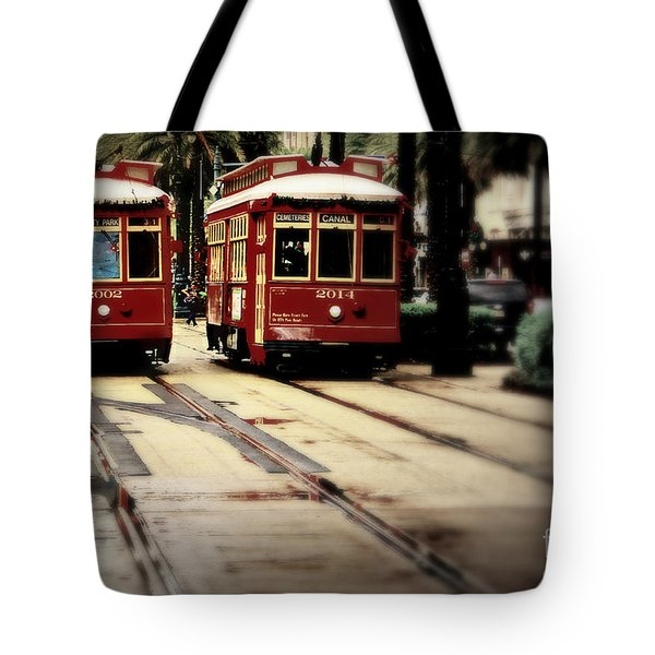 New Orleans Red Streetcars Tote Bag by Perry Webster