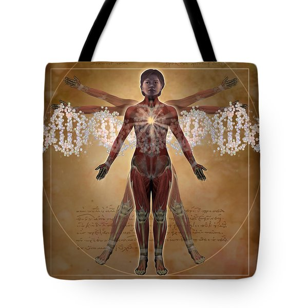 New Vitruvian Woman Tote Bag by Jim Dowdalls and Photo Researchers