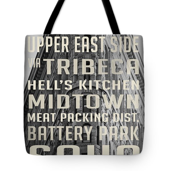 New York City Subway Stops Flat Iron Building Tote Bag by Edward Fielding