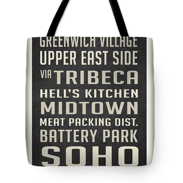 New York City Subway Stops Vintage Tote Bag by Edward Fielding
