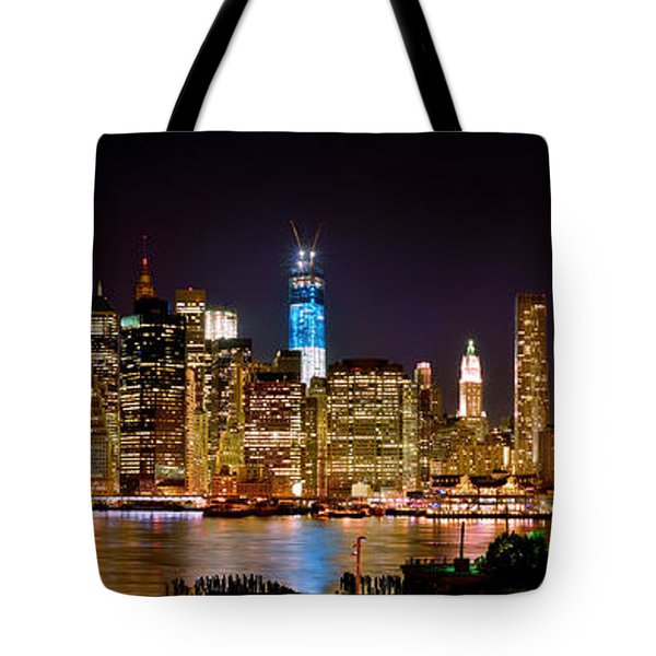 New York City Tribute in Lights and Lower Manhattan at Night NYC Tote Bag by Jon Holiday
