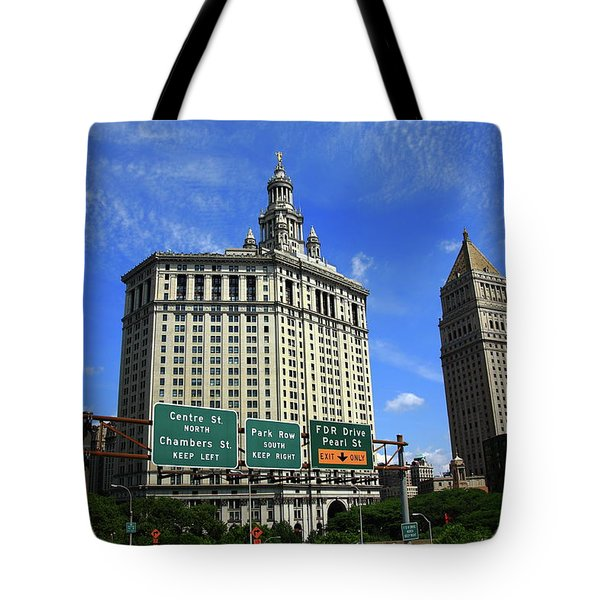 New York City With Local Traffic Signs Tote Bag by Frank Romeo