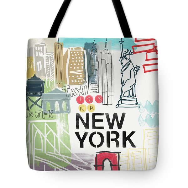 New York Cityscape- Art By Linda Woods Tote Bag by Linda Woods