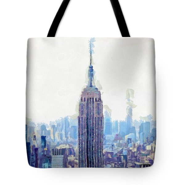 New York Skyline Art- Mixed Media Painting Tote Bag by Wall Art Prints