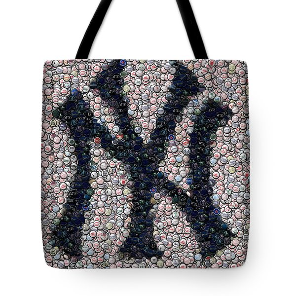 New York Yankees Bottle Cap Mosaic Tote Bag by Paul Van Scott