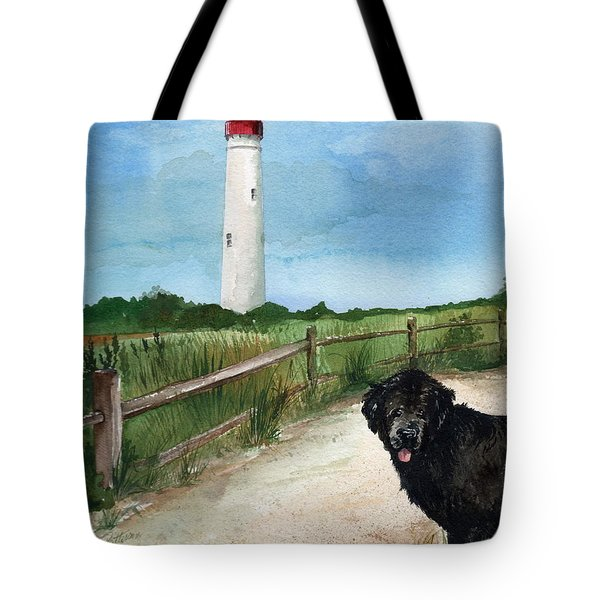 Newfy At Cape May Light  Tote Bag by Nancy Patterson