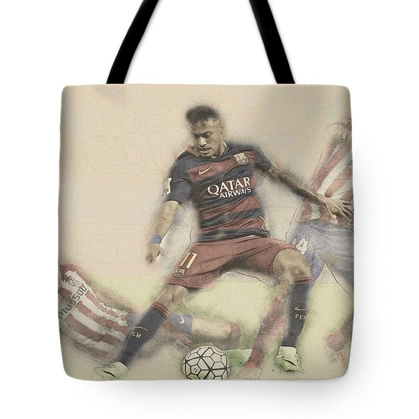 Neymar Fight For The Bal Tote Bag by Don Kuing