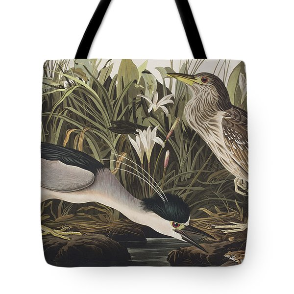 Night Heron Or Qua Bird Tote Bag by John James Audubon