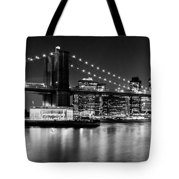 Night Skyline Manhattan Brooklyn Bridge Bw Tote Bag by Melanie Viola