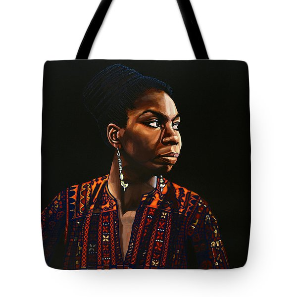 Nina Simone Painting Tote Bag by Paul Meijering