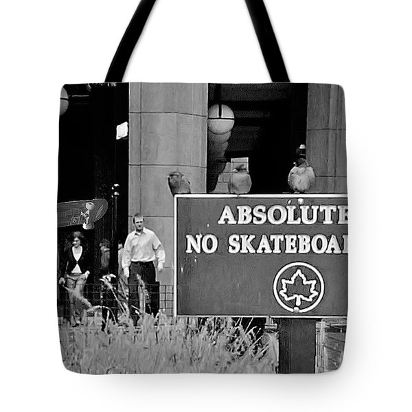 No Skateboarding Tote Bag by Brian Wallace